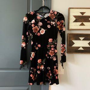 Topshop Velvet Floral Skater Dress, Size S